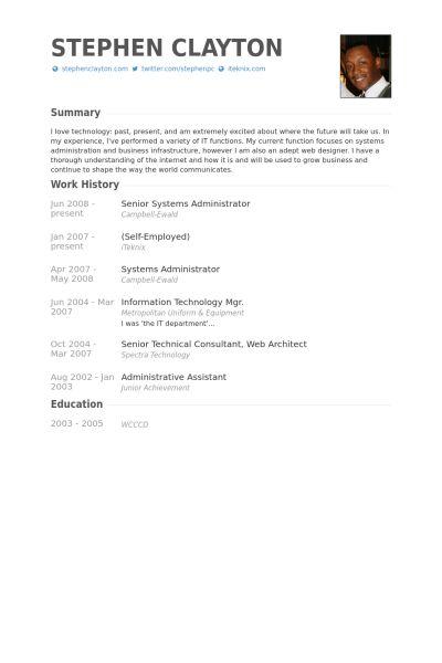 Senior Systems Administrator Resume samples - VisualCV resume ...
