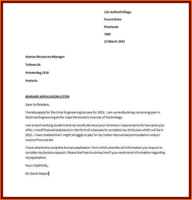 10+ motivational letter for bursary application sample   receipts ...