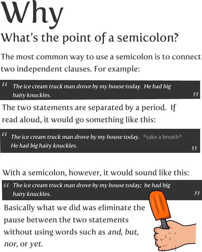 How to use a semicolon - The Oatmeal