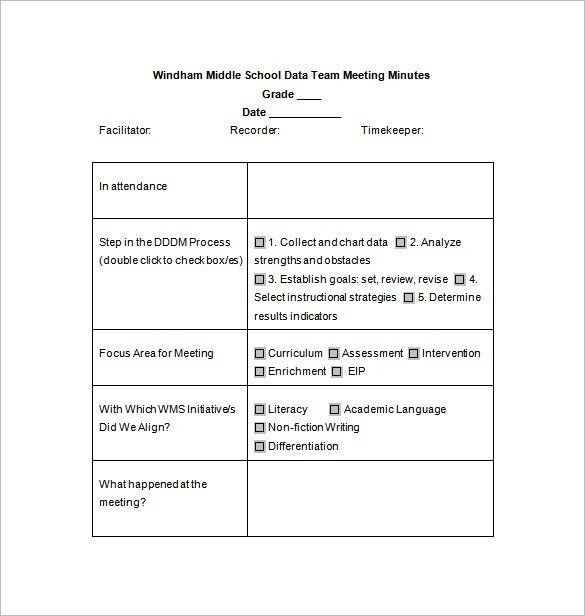 School Meeting Minutes Template – 8+ Free Sample, Example Format ...