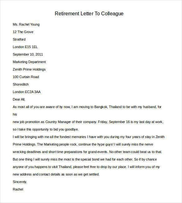Retirement Letter Templates - 31+ Free Sample, Example Format ...