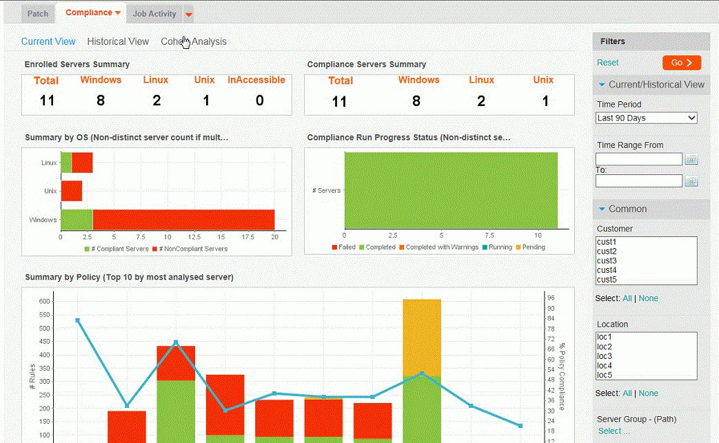 Using the Live Reporting dashboard - BMC Server Automation 8.9