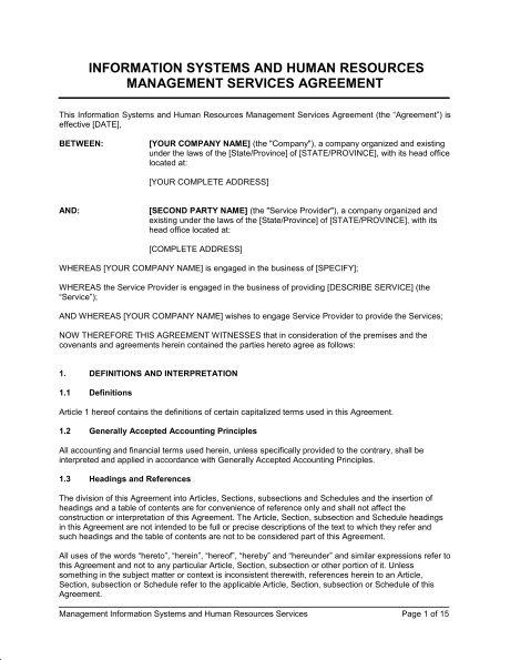 IT Systems & HR Management Services Agreement - Template & Sample ...