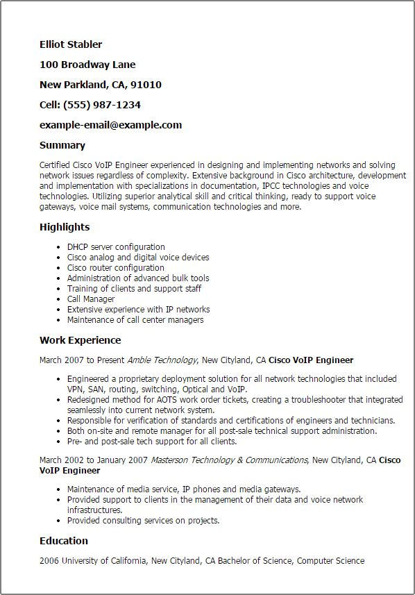 Download Cisco Support Engineer Sample Resume ...