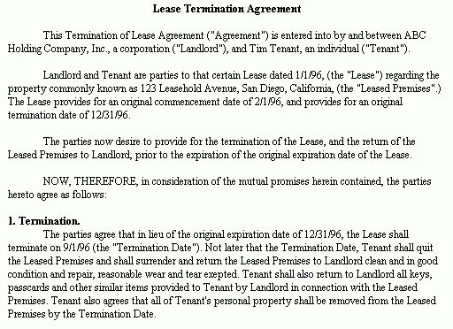 Example Document for Lease Termination Agreement - termination of ...