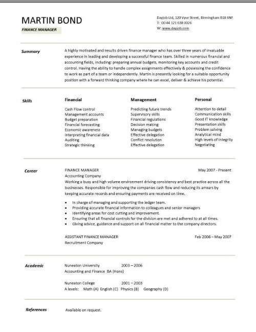 Resume Templates For Finance Professionals 29699 | Plgsa.org