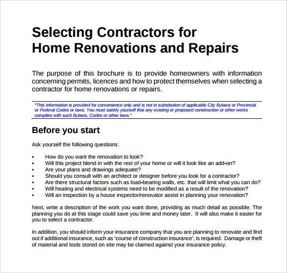 Renovation Contract Template - 8+ Download Documents in PDF