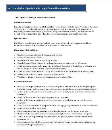 Marketing Job Description - 9+ Free Word, PDF Format Download ...
