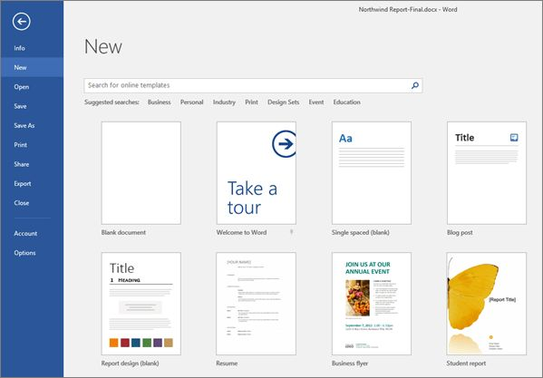 Video: Create a document, use templates and save - Word