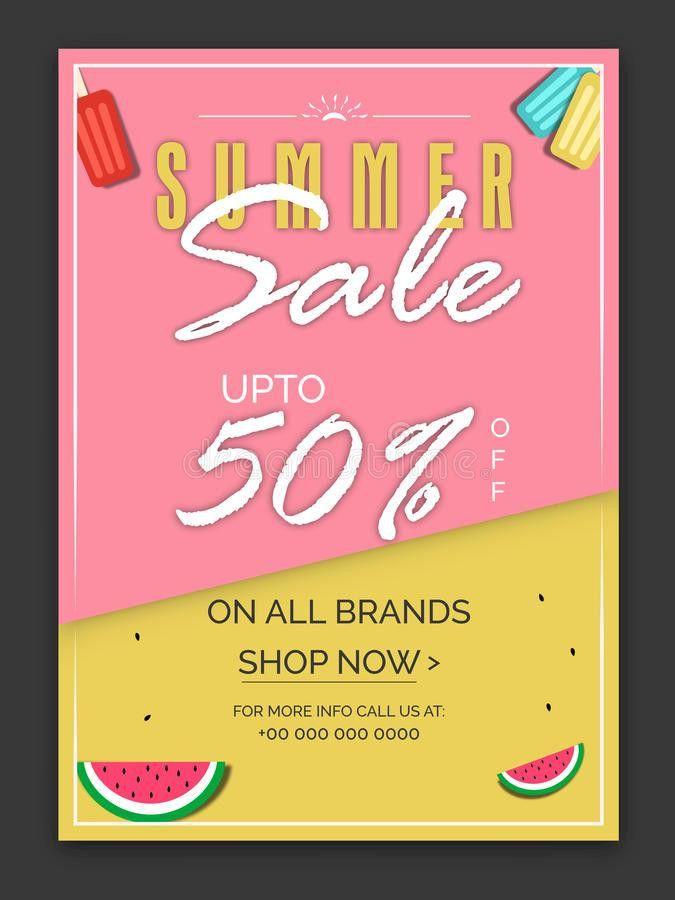 Summer Sale Poster, Banner Or Flyer Design. Stock Photo - Image ...