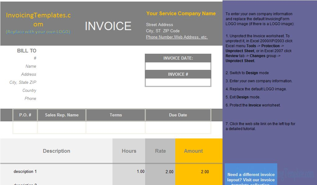 Invoice Template with Hours and Rate