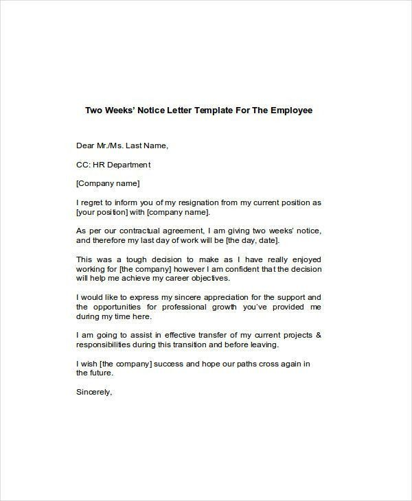 6+ Two Weeks Notice Examples, Samples