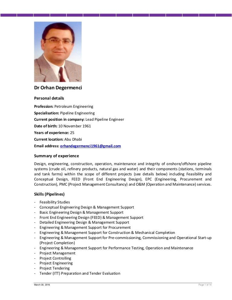 Cv mr. orhan degermenci (lead pipeline engineer)