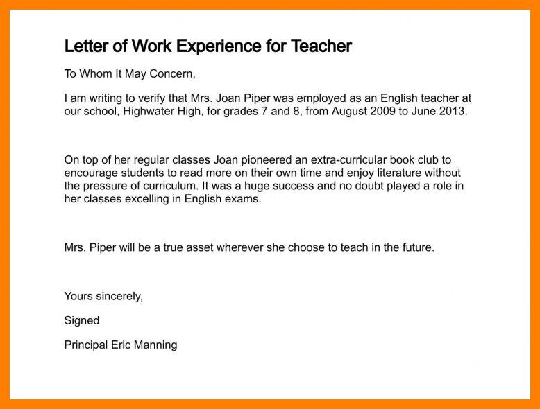 4+ work experience letter pdf | packaging clerks