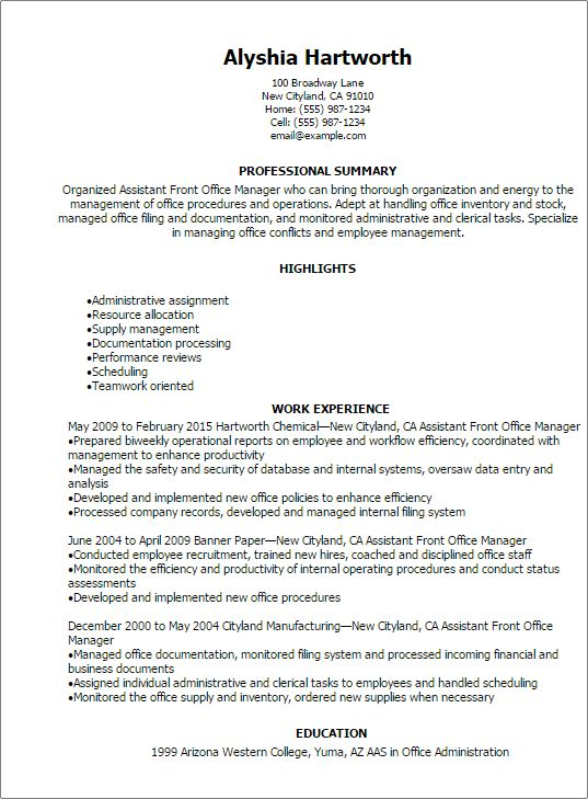 Professional Assistant Front Office Manager Resume Templates to ...