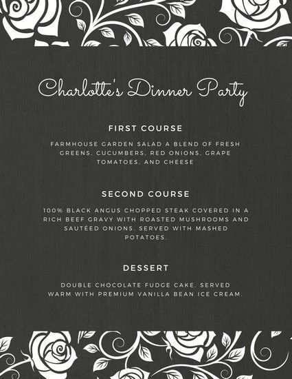 Black and White Rose Dinner Party Menu - Templates by Canva