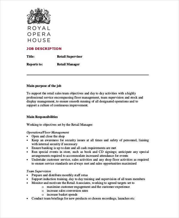9 retail manager job description introduction letter retail ...