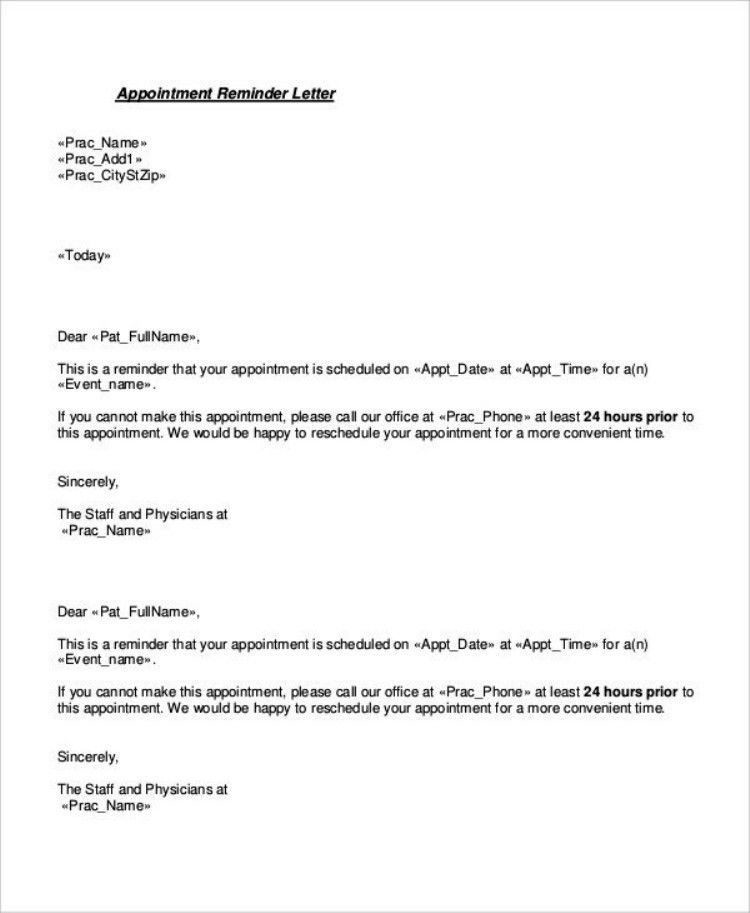 Example Patient Appointment Reminder Letter | TemplateZet