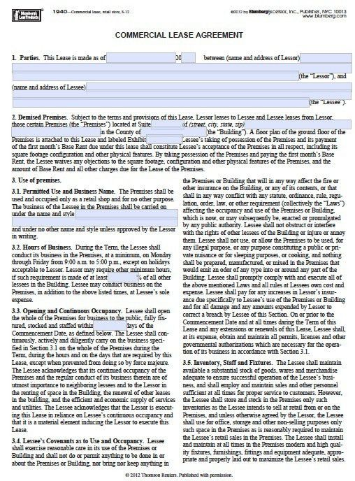 Free New York Commercial Lease Agreement – PDF Template