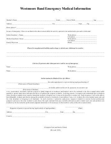 Emergency Form Template. emergency contact form free excel ...