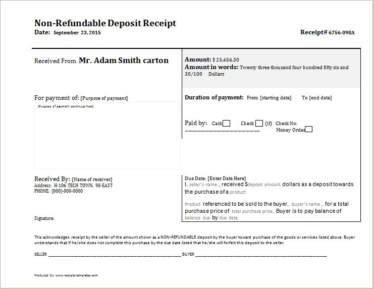 Non Refundable Deposit Receipt DOWNLOAD free at http://www ...