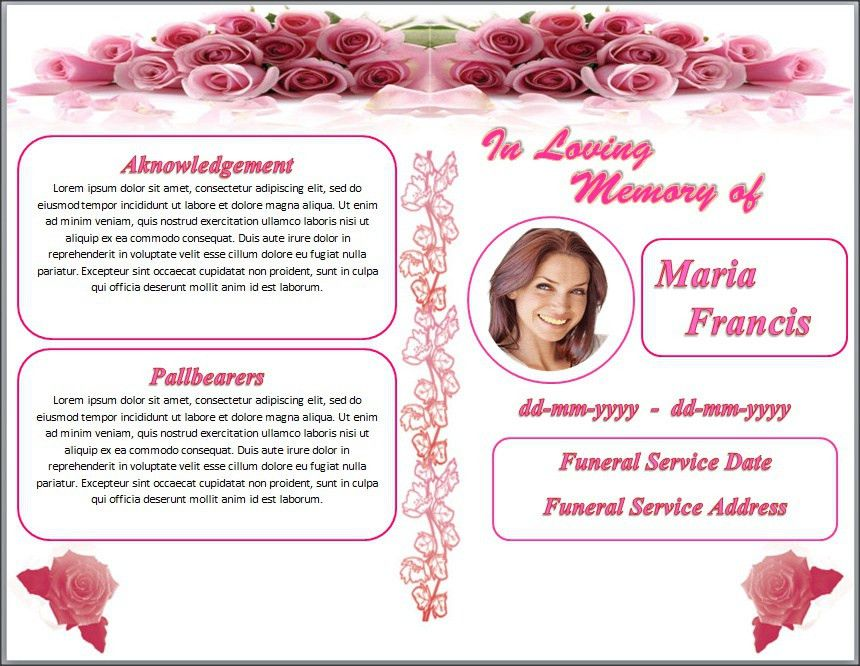 Rose Flower Funeral Memorial Program Template Word by sammbither ...