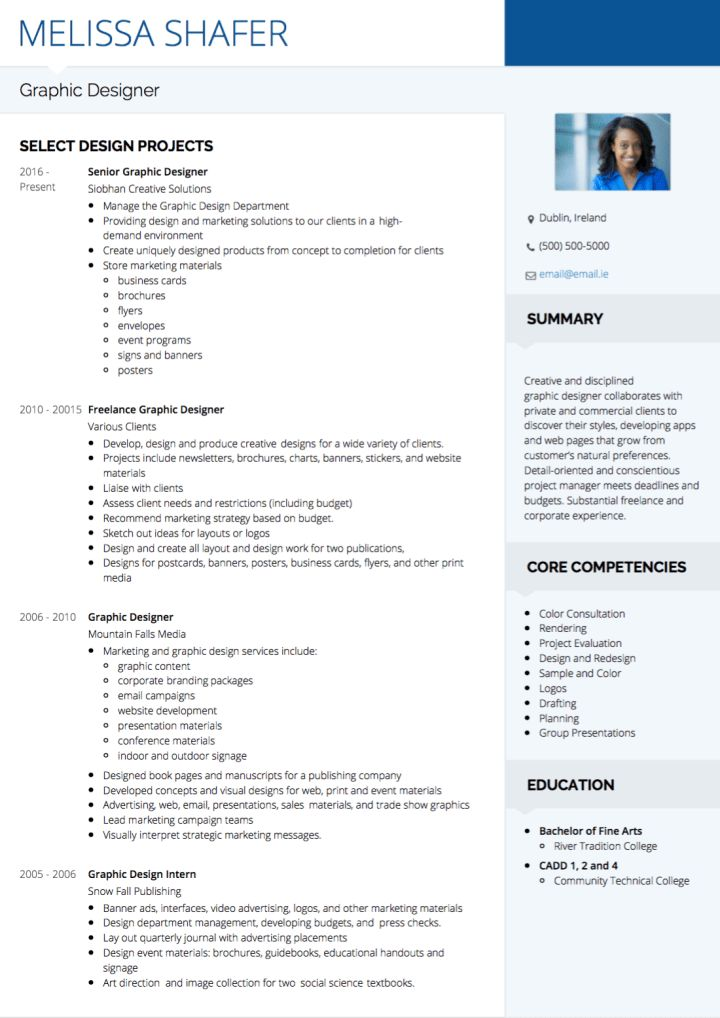 Graphic Design CV examples and template