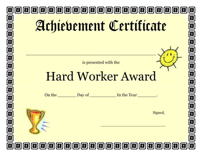 Free Customizable Certificate Of Achievement Template For Kids ...