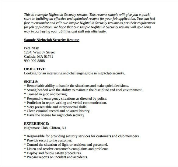 Nightclub Security Resume Sample Security Resume 11 Download Free - security sample resume