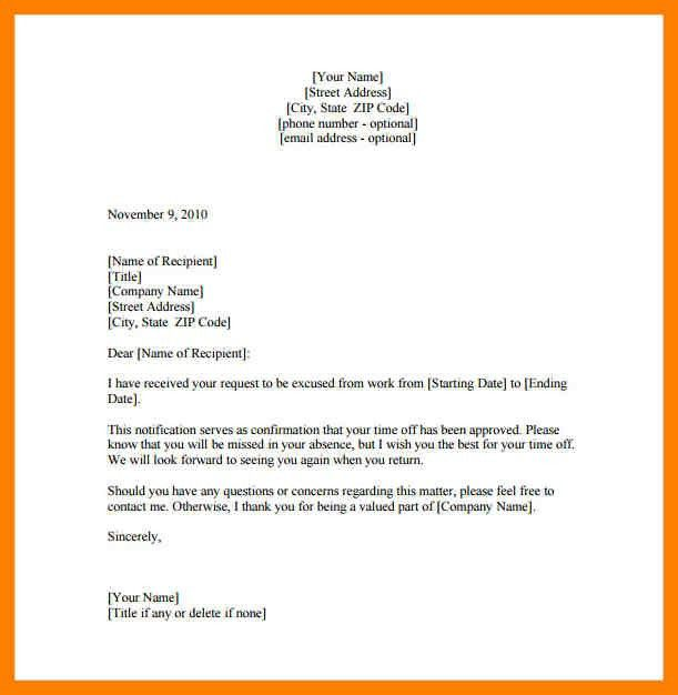 Leave Of Absence Letter. 5+ Letter Of Absence | Childcare Resume 8 ...