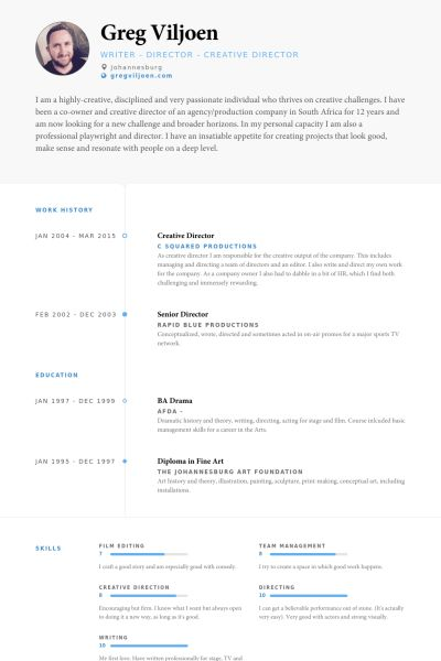 Creative Director Resume samples - VisualCV resume samples database
