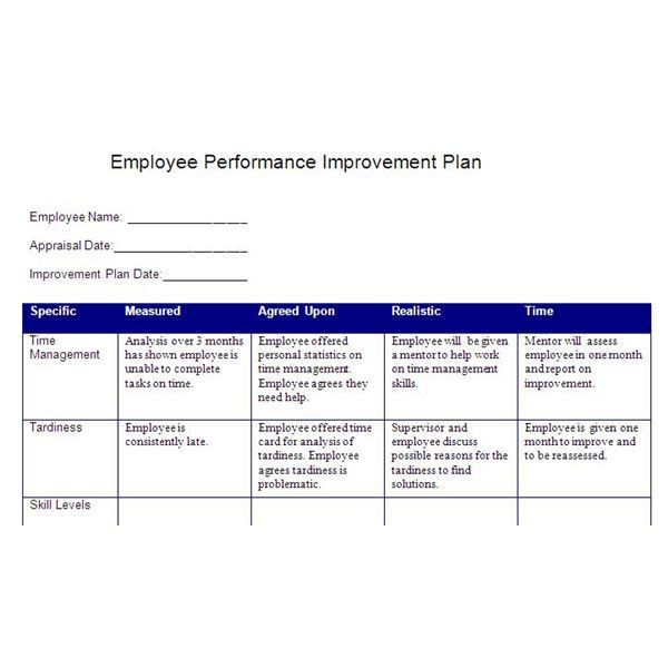 Create a Performance Improvement Plan Based on SMART Goals: Free ...