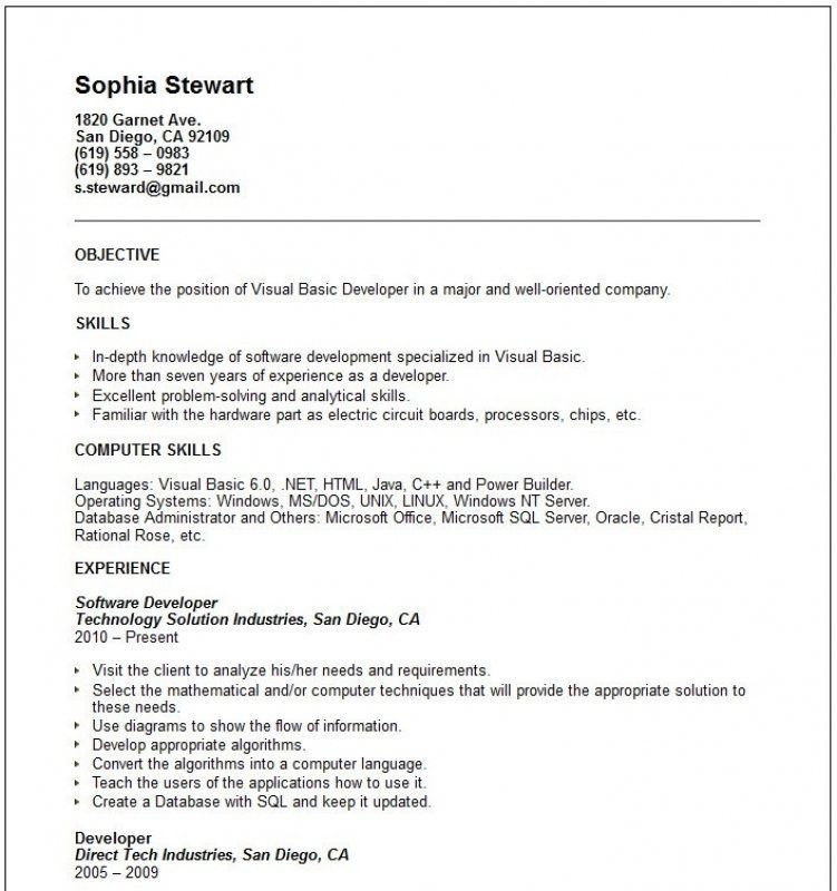 Examples Of Basic Resumes. Basic Resumes Examples Free You Are On ...