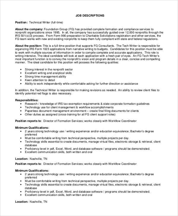 Sample Technical Writer Job Description - 9+ Examples in PDF