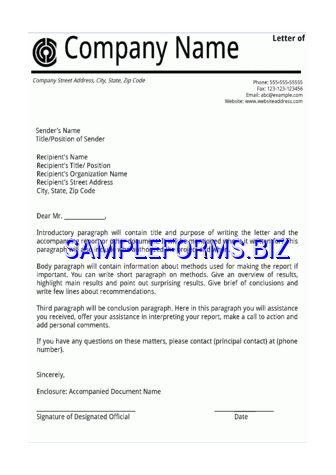 Letter of Transmittal Example templates & samples forms