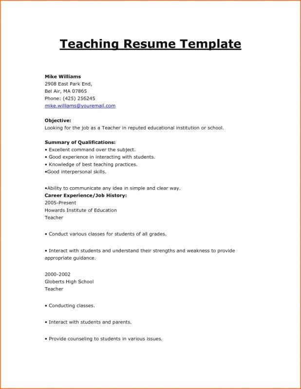 Resume Format For Teaching Jobs | Samples Of Resumes