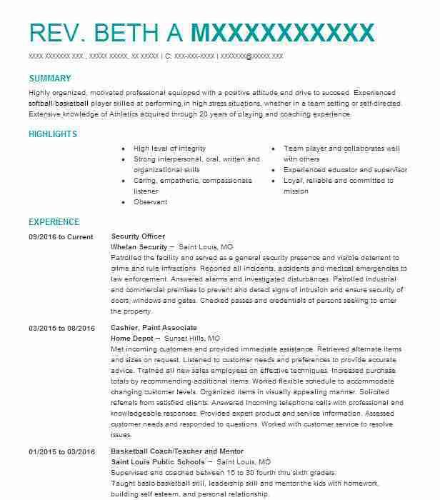 Best Security Officer Resume Example | LiveCareer