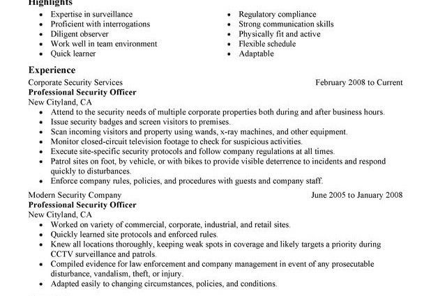 security officer resume professional security officer law. create ...