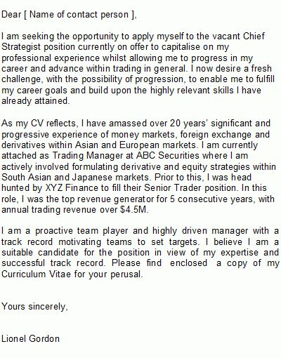 Sample Trader Cover Letter