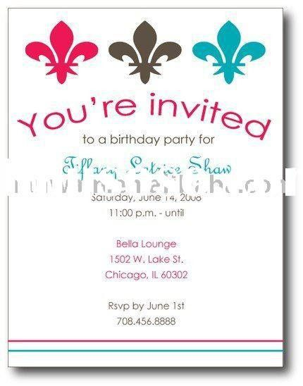 Sample Party Invitation | cimvitation