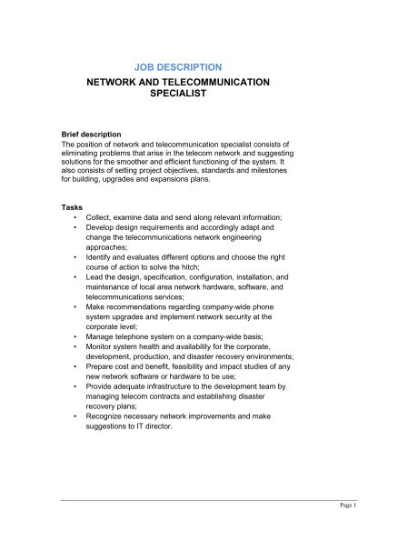 Network and Telecommunication Specialist Job Description ...