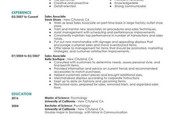 Part Time Sales Associates retail Resume Sample highlight summary ...