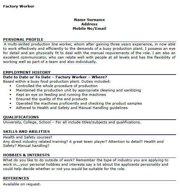 sample resume for factory worker resume samples resume sle for ...