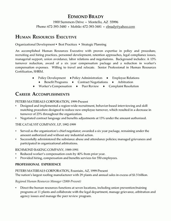 Stunning Design Ideas Hr Resume Examples 16 Sr Human Resources ...