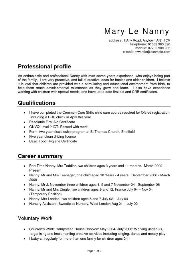 10 Nanny Resume Profile Examples Resume full time nanny resume ...