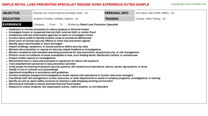 Retail Loss Prevention Specialist Job Title Docs