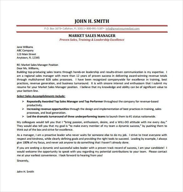 Professional Cover Letter Example. Marketing Sales Manager Cover ...