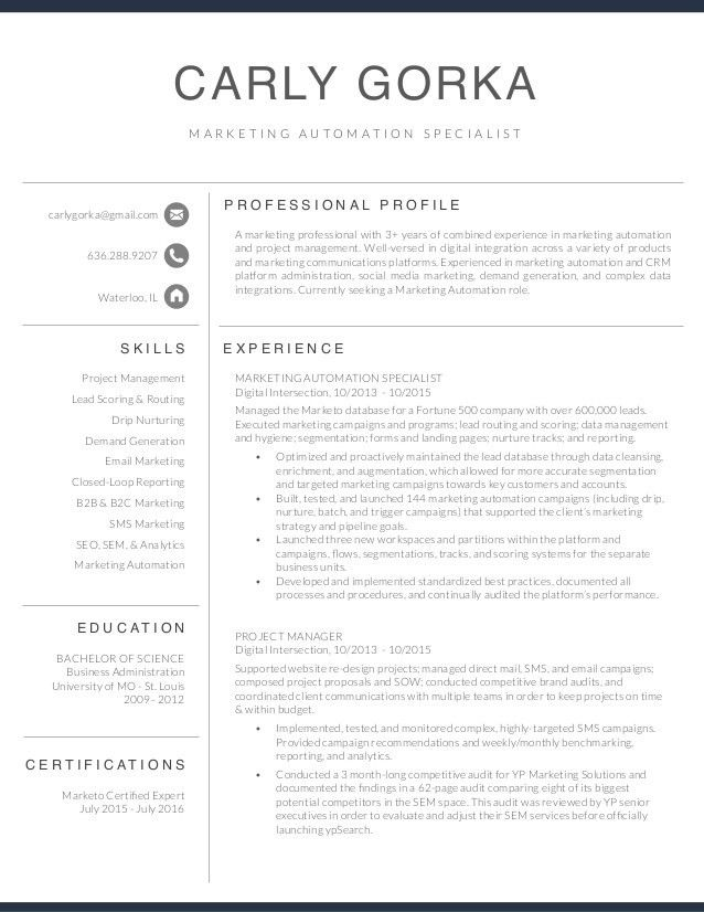 Marketing Automation Specialist Resume - Carly Gorka