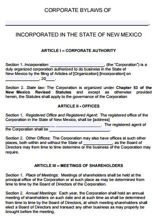 Free New Mexico Corporate Bylaws Template | PDF | Word |