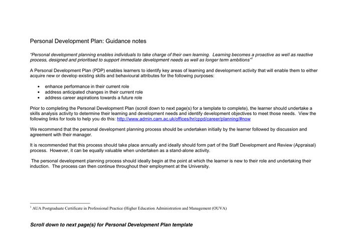 Personal development plan (PDP) template in Word and Pdf formats